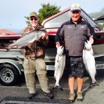 "Tom Cavin & Dennis Conway from Carson City Nevada had a great day on the Rogue! A ""double"" , two on at the same time only happens periodically, and oh what fun!"